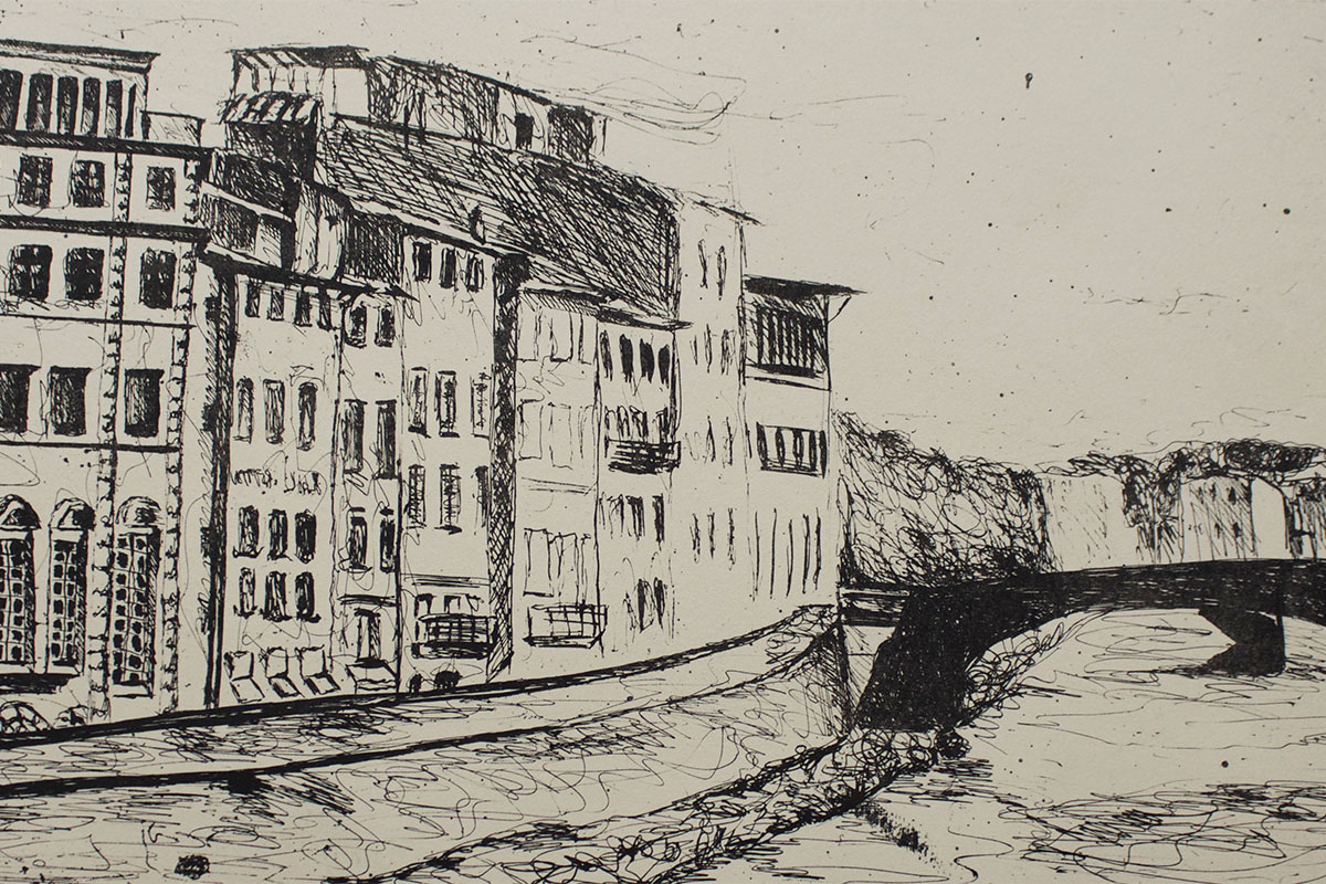 Lithograph print of the Arno River