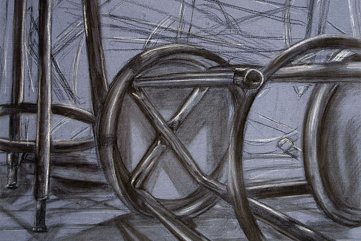 Charcoal drawing of a bench still life